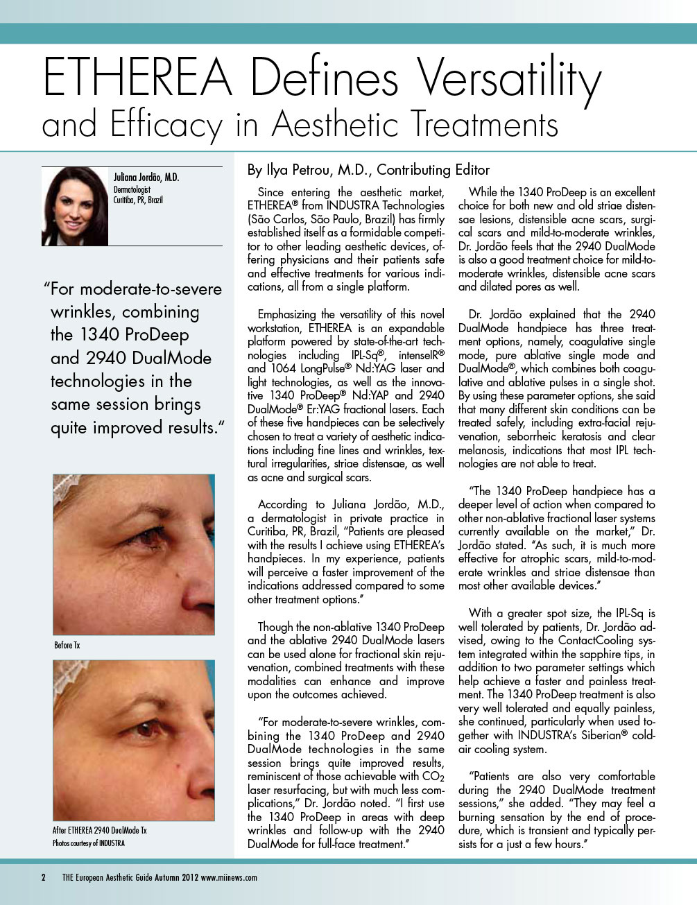 etherea® defines versatility and efficacy in aesthetic treatments