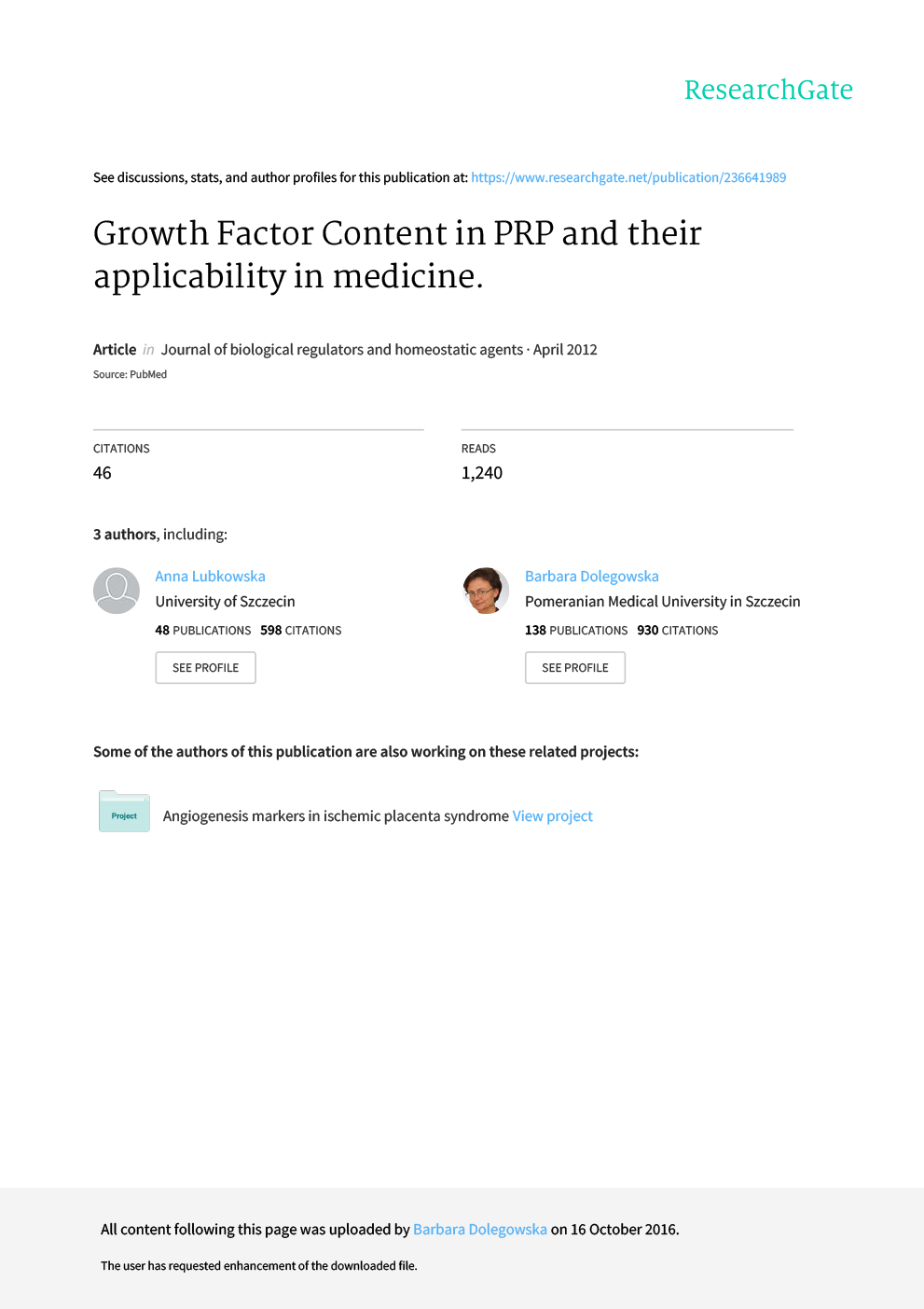Growth Factor Content in PRP Applicability in Medicine 1 1