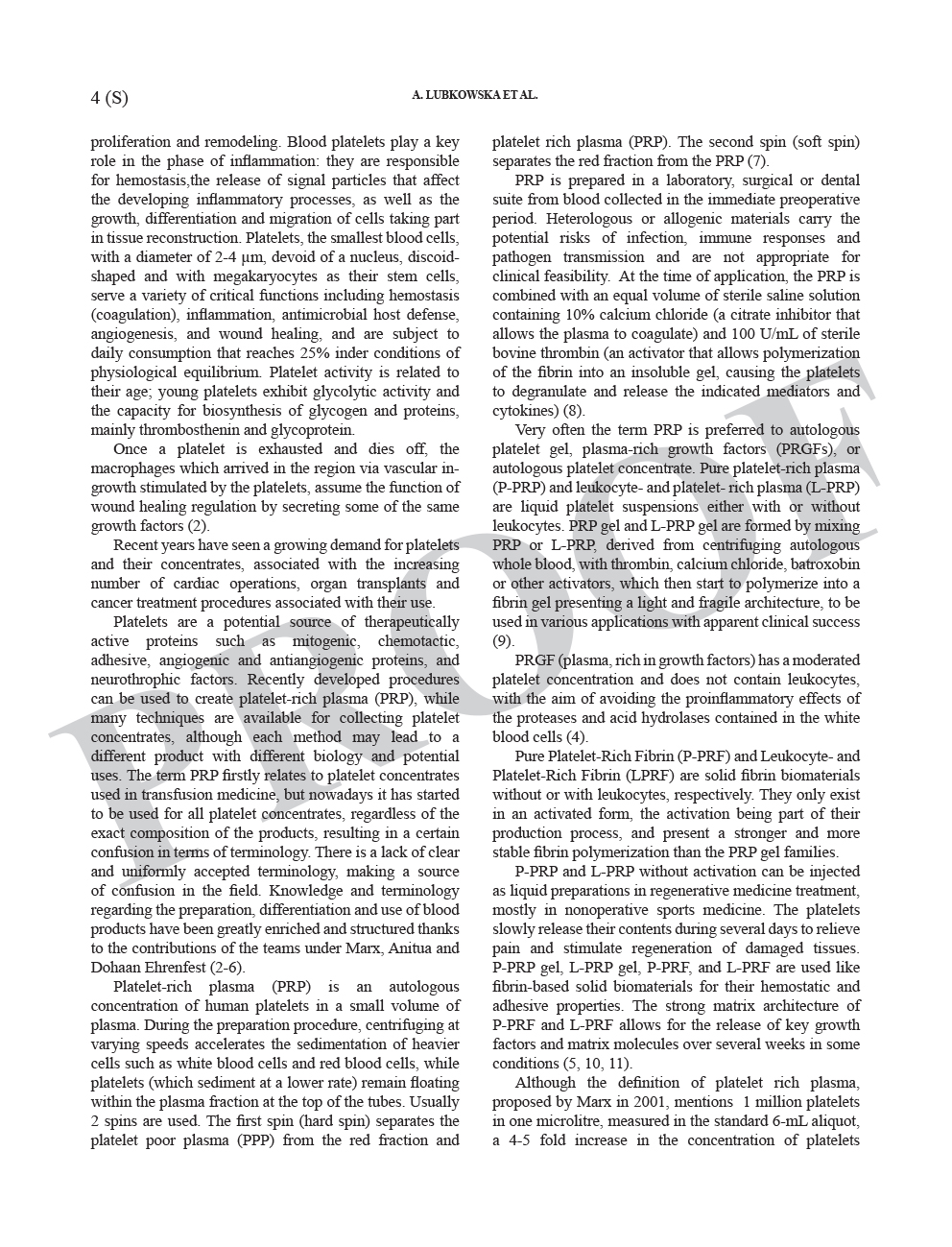 Growth Factor Content in PRP Applicability in Medicine 3 1