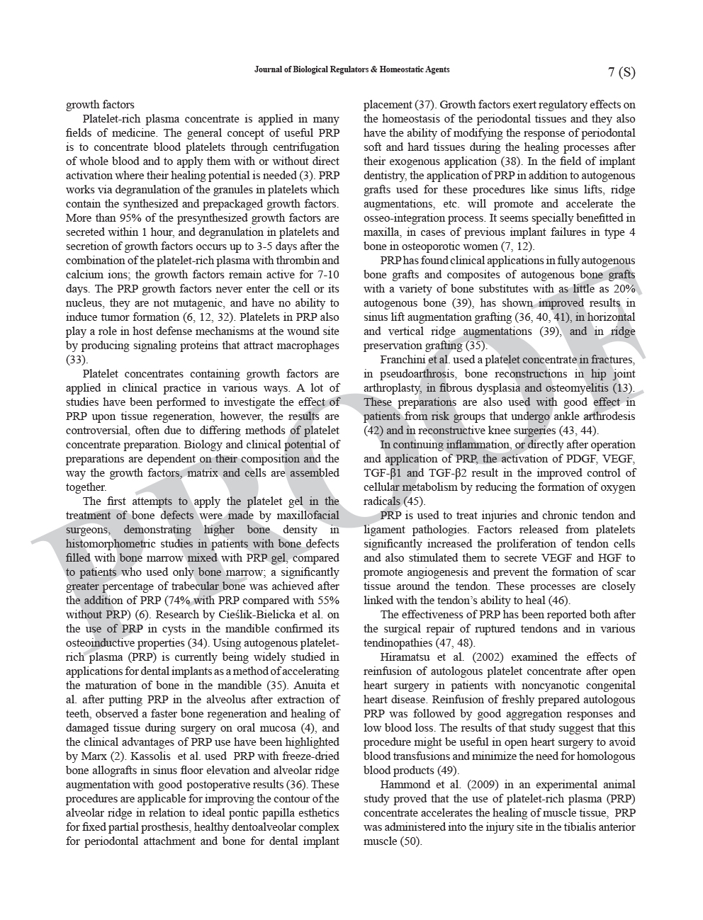 Growth Factor Content in PRP Applicability in Medicine 6 1